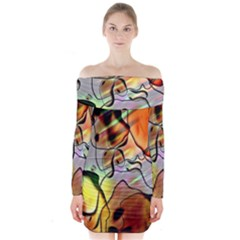 Abstract Pattern Texture Long Sleeve Off Shoulder Dress