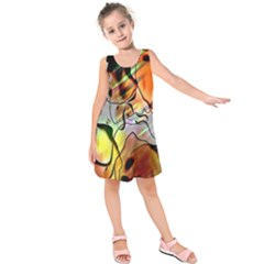 Abstract Pattern Texture Kids  Sleeveless Dress