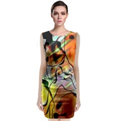 Abstract Pattern Texture Sleeveless Velvet Midi Dress