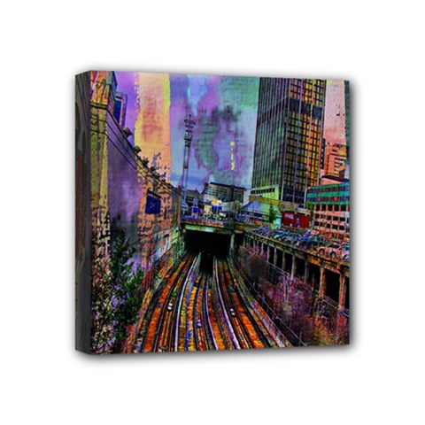Downtown Chicago City Mini Canvas 4  X 4