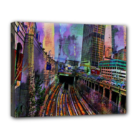 Downtown Chicago City Canvas 14  X 11