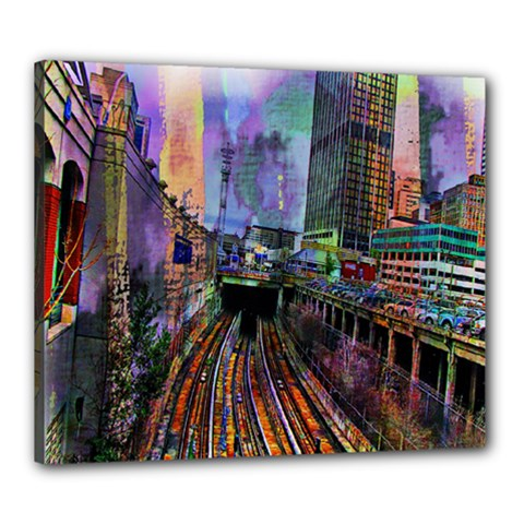 Downtown Chicago City Canvas 24  x 20