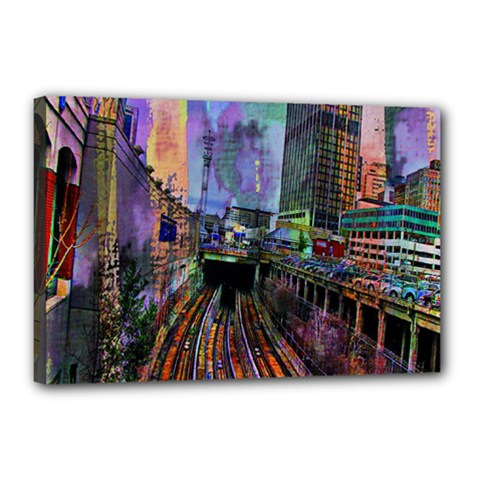 Downtown Chicago City Canvas 18  x 12