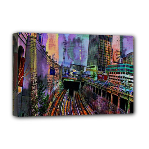 Downtown Chicago City Deluxe Canvas 18  x 12