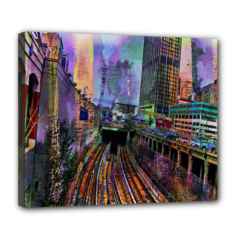 Downtown Chicago City Deluxe Canvas 24  X 20