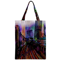 Downtown Chicago City Zipper Classic Tote Bag