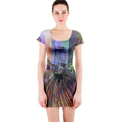 Downtown Chicago City Short Sleeve Bodycon Dress