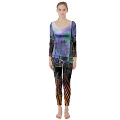 Downtown Chicago City Long Sleeve Catsuit