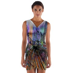 Downtown Chicago City Wrap Front Bodycon Dress