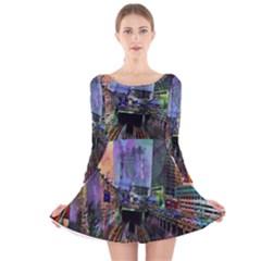Downtown Chicago City Long Sleeve Velvet Skater Dress