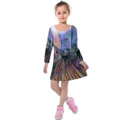 Downtown Chicago City Kids  Long Sleeve Velvet Dress