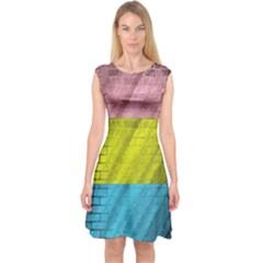 Brickwall Capsleeve Midi Dress