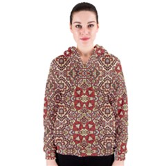 Seamless Pattern Based On Turkish Carpet Pattern Women s Zipper Hoodie