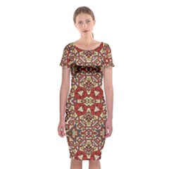 Seamless Pattern Based On Turkish Carpet Pattern Classic Short Sleeve Midi Dress
