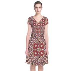 Seamless Pattern Based On Turkish Carpet Pattern Short Sleeve Front Wrap Dress