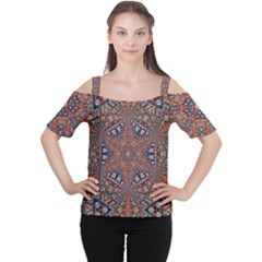 Armenian Carpet In Kaleidoscope Women s Cutout Shoulder Tee