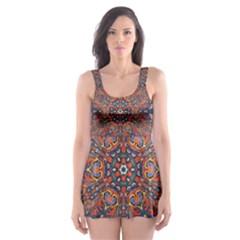 Armenian Carpet In Kaleidoscope Skater Dress Swimsuit