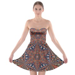 Armenian Carpet In Kaleidoscope Strapless Bra Top Dress