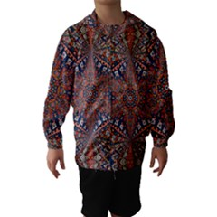 Armenian Carpet In Kaleidoscope Hooded Wind Breaker (kids)