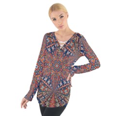 Armenian Carpet In Kaleidoscope Women s Tie Up Tee