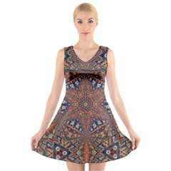 Armenian Carpet In Kaleidoscope V-Neck Sleeveless Skater Dress