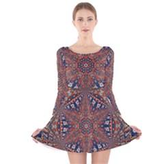 Armenian Carpet In Kaleidoscope Long Sleeve Velvet Skater Dress