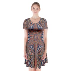 Armenian Carpet In Kaleidoscope Short Sleeve V-neck Flare Dress