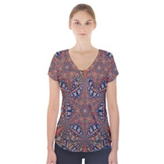 Armenian Carpet In Kaleidoscope Short Sleeve Front Detail Top