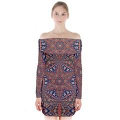 Armenian Carpet In Kaleidoscope Long Sleeve Off Shoulder Dress