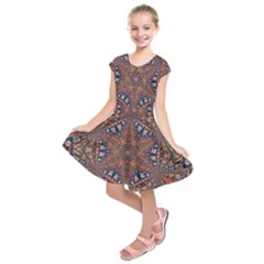 Armenian Carpet In Kaleidoscope Kids  Short Sleeve Dress