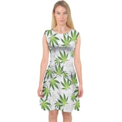 Gray Cannabis Marijuana Capsleeve Midi Dress