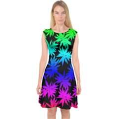 Colorful Dark Cannabis Marijuana Capsleeve Midi Dress