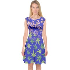 Blue Violet Cannabis Marijuana Capsleeve Midi Dress