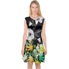 Black White Floral Cannabis Marijuana Capsleeve Midi Dress