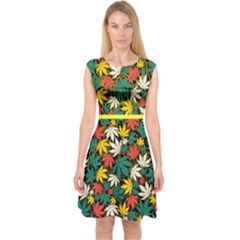 Dark Colorful Yellow Cannabis Marijuana Capsleeve Midi Dress