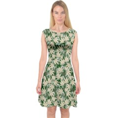 Green Beige Cannabis Marijuana Capsleeve Midi Dress