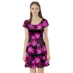 Dark Pink Cannabis Marijuana Short Sleeve Skater Dress