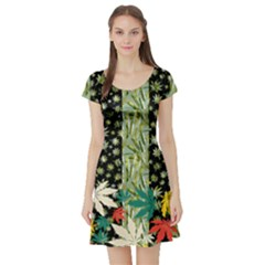Black Pattern Stripes Cannabis Marijuana Short Sleeve Skater Dress
