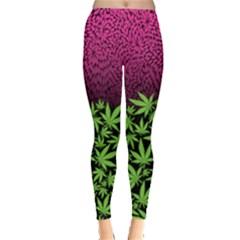 Dark Green Pink Cannabis Marijuana Leggings