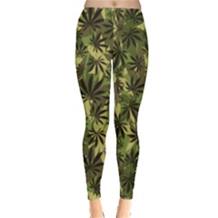 Dark Olive Green Cannabis Marijuana Leggings