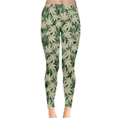 Green Beige Cannabis Marijuana Leggings