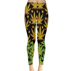 Black Gold Cannabis Marijuana  Leggings