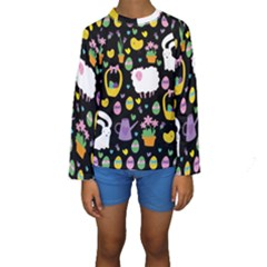 Cute Easter pattern Kids  Long Sleeve Swimwear
