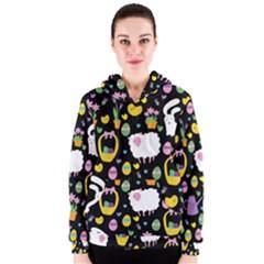 Cute Easter pattern Women s Zipper Hoodie
