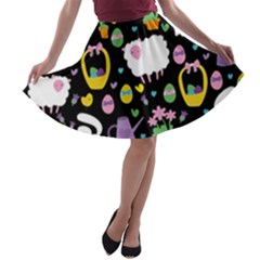 Cute Easter pattern A-line Skater Skirt