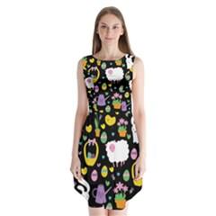 Cute Easter pattern Sleeveless Chiffon Dress