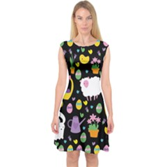 Cute Easter pattern Capsleeve Midi Dress