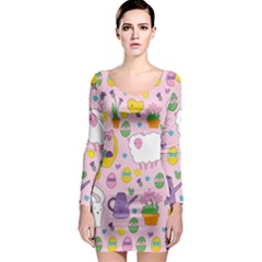 Cute Easter pattern Long Sleeve Bodycon Dress