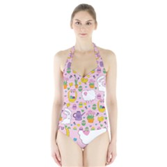 Cute Easter pattern Halter Swimsuit