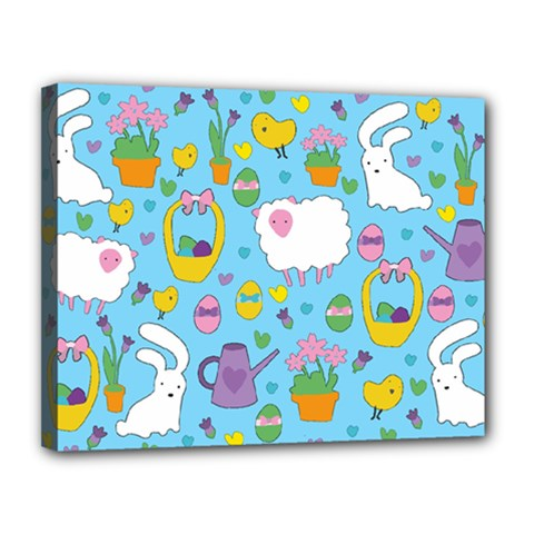 Cute Easter pattern Canvas 14  x 11